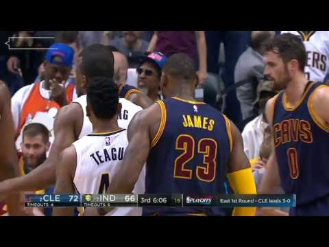 LeBron James Chasedown Block on Thaddeus Young  Cavs vs Pacers 4-23-17