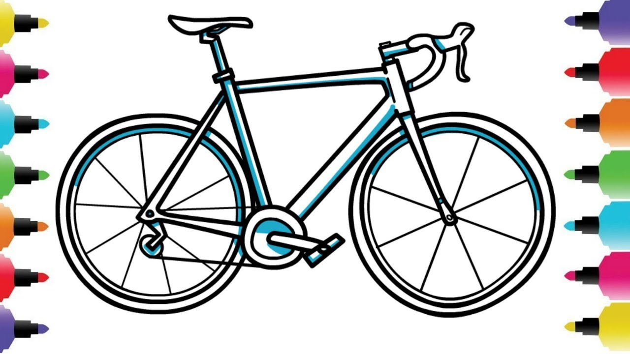 How To Draw A Bicycle Bike Easy Drawing Tutorial For Kids Youtube