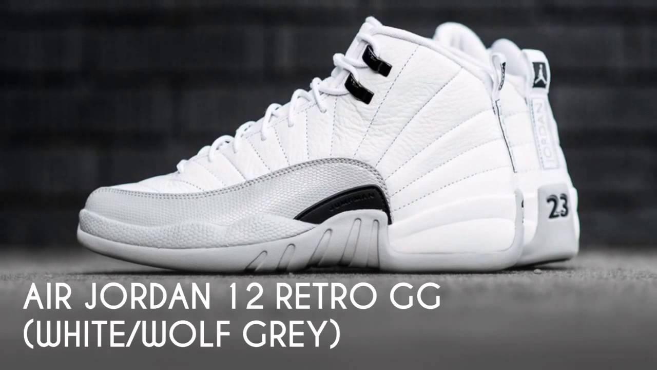 AIR JORDAN 12 RETRO GG (WHITE WOLF GREY)   PEACE X9 - YouTube ead145345