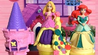 Play Doh Rapunzel Garden Tower Playset Sparkle Playdough Mix 'n Match Princess Cinderella Ariel Snow