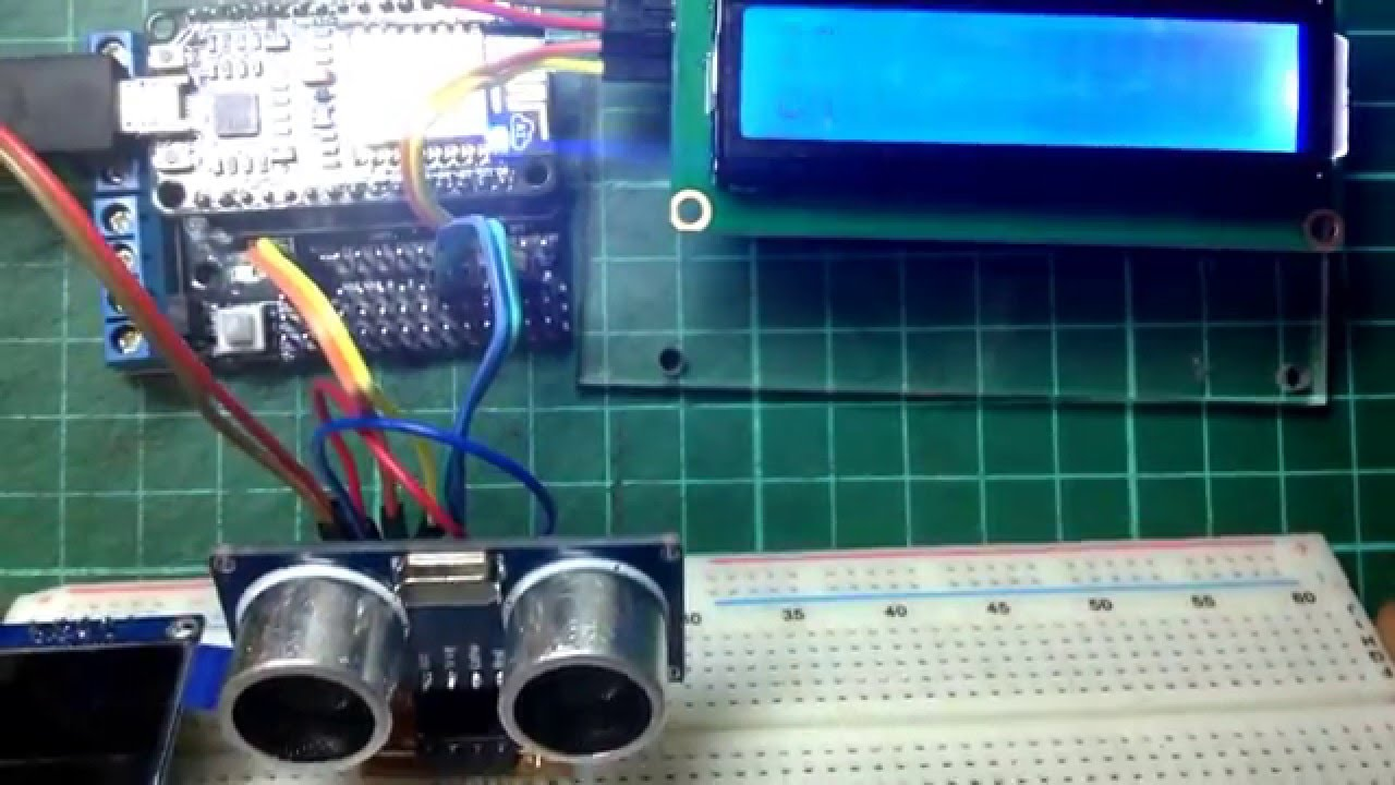 Driving Ultrasonic Sensor with NodeMCU and i2C 16x2 LCD Screen  YouTube