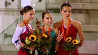 Церемония награждения. Девушки. Гран-при Италии по фигурному катанию среди юниоров 2019/20