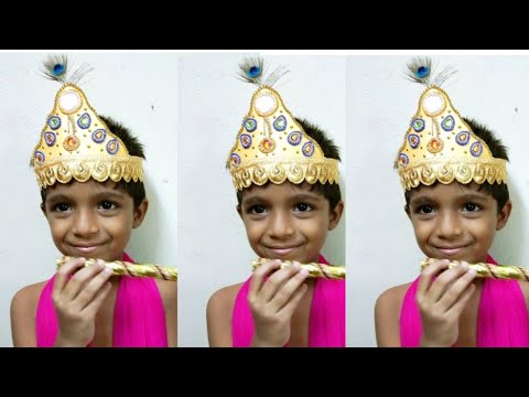 Diy paper crown/Krishna jayanthi Decoration ideas tamil/how to makes crown/krishna jayanthi