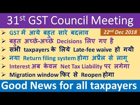 31st GST COUNCIL MEETING, Late-fee waived for all, Migration window reopened,