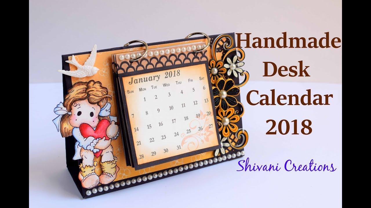 How to make Desk Calendar/ Handmade Calendar 2018/ Quilled ...