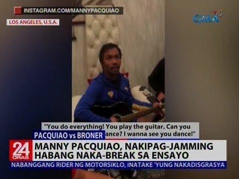 Manny Pacquiao, nakipag-jamming habang naka- break sa ensayo