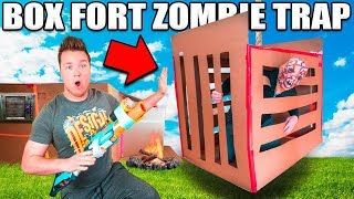 BOX FORT ZOMBIE TRAP!! 📦😱24 HOUR BOX FORT ZOMBIE BASE