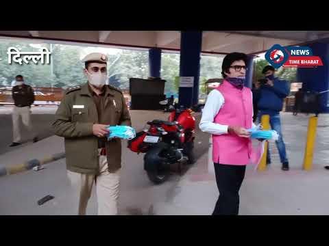 #delhi  Junior Amitabh bachan ने delhi पुलिस के साथ मिलकर बाटे माक्स