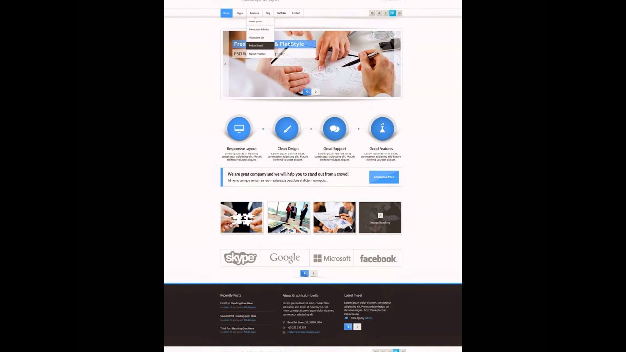 PSD Website Template Free - YouTube
