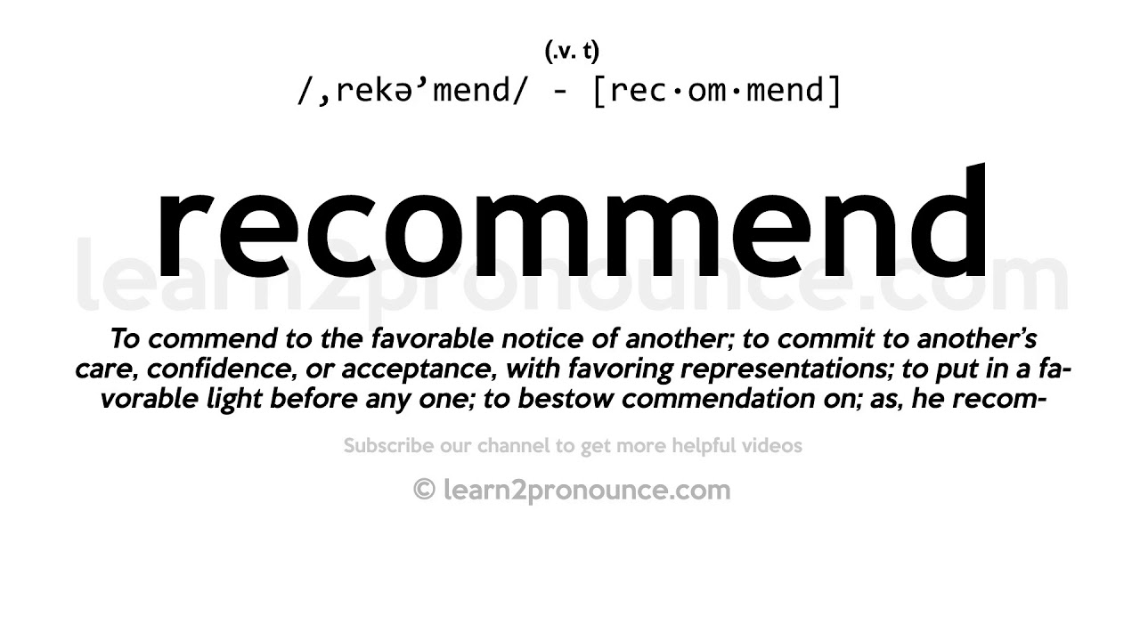 How to pronounce Recommend  English pronunciation