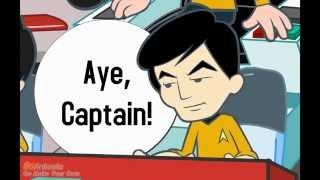 Lustige Karikatur über die Abenteuer von LT Sulu - Star Trek Zeichentrick für Kinder HD