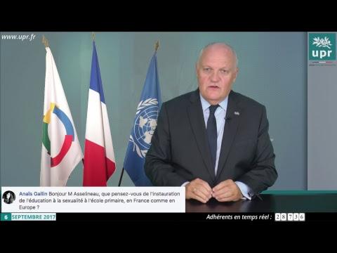 Entretien de François Asselineau en direct sur YouTube