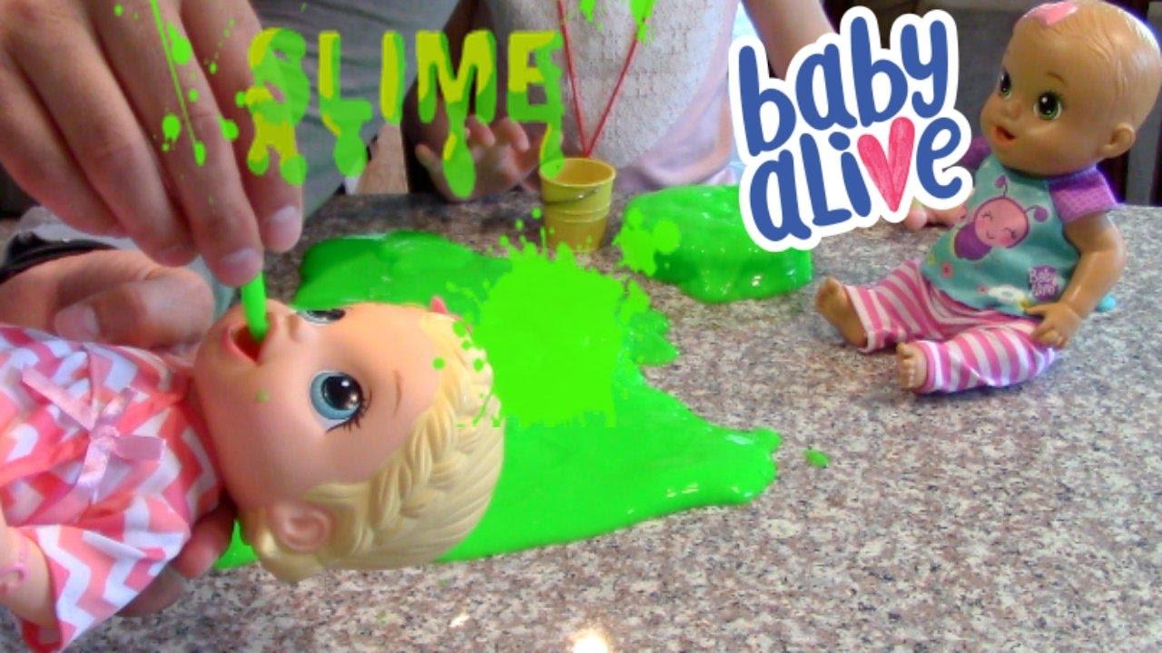 Baby Alive Eats Slime Theplussideofthings Youtube