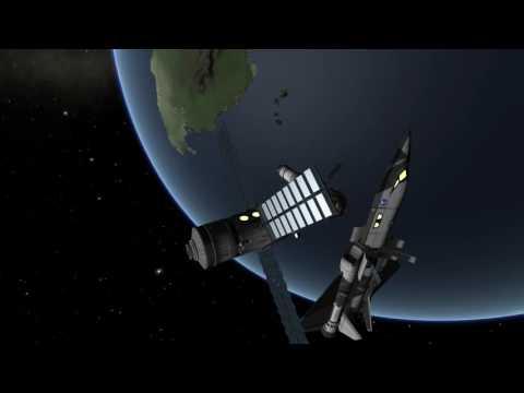 Kerbal Space Program - SSTO docks at Salyut 1 space station to exchange the crew [KSP]