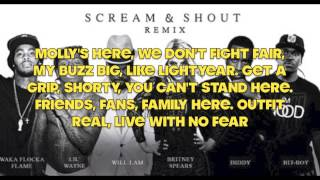 Scream and Shout (Remix) Lyric Video ft. Lil Wayne, Waka Flaka Flame, Diddy, Hit-Boy