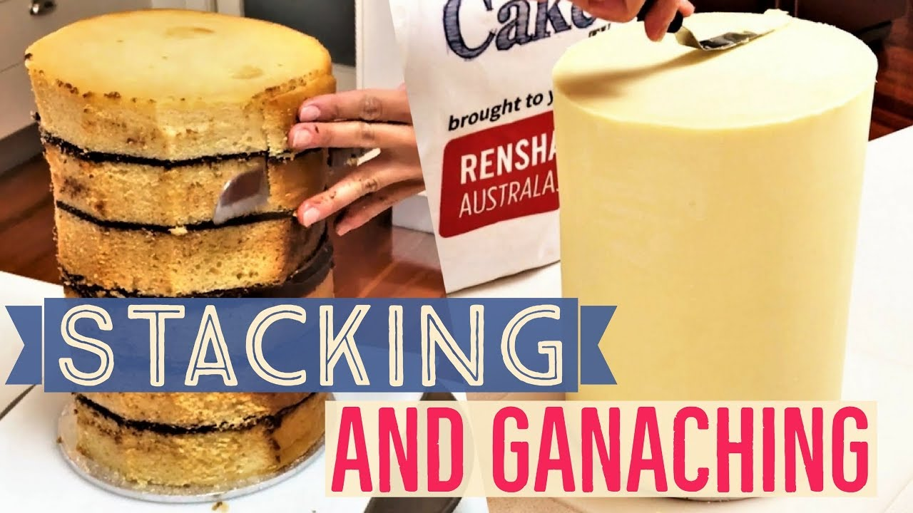 Stacking and Ganaching Double Tall Cake Using Chocolate Ganache and ...