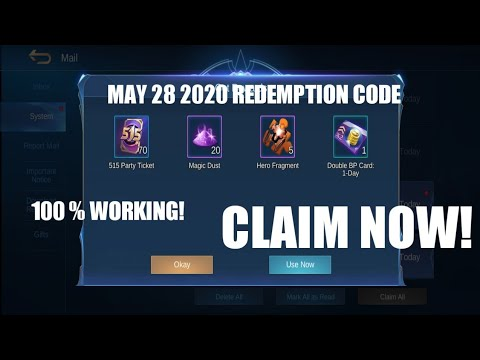 NEW ML REDEMPTION CODE MAY 28 2020 LEGIT GUYS REDEEM NYO ...