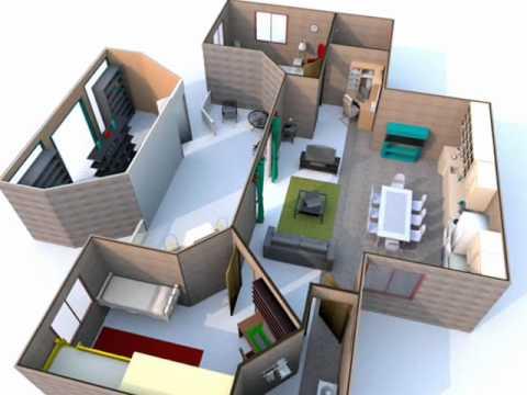 Planta de casa 3d youtube - Planos de casas de una planta ...