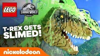 NICKELODEON SLIMED A T-REX?! 🦖 LEGO Jurassic World IRL + Bonus Clip!   Nick