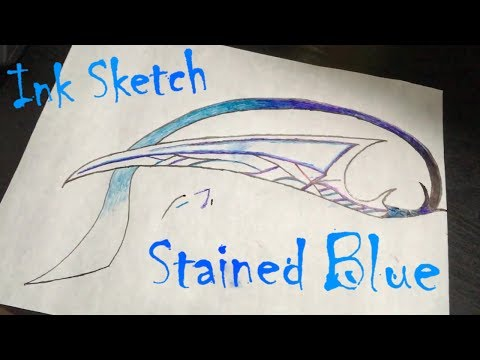 Multi-colored Ink Sketch: Stained Blue