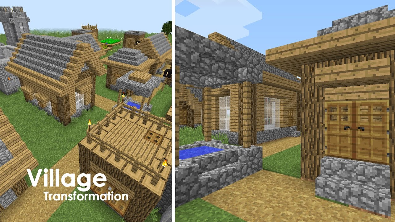 Minecraft Village Upgrade - Small Houses and Well + Village Flyover