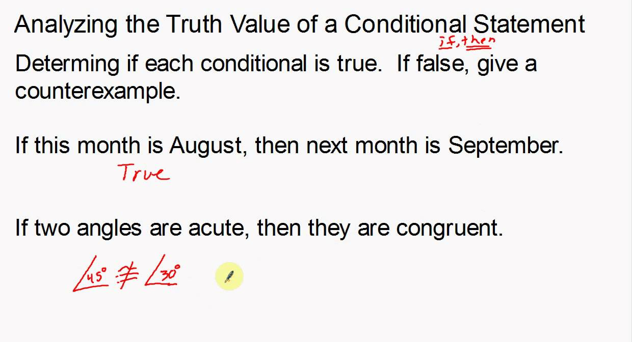 Analyzing The Truth Value Of A Conditional Statement Youtube
