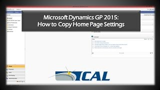 How to Copy Home Page Settings in MICROSOFT Dynamics GP 2015