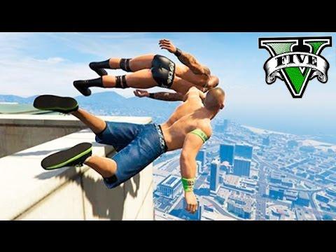GTA 5 RANDY ORTON JOHN CENA !! RECOPILACIÓN PROEZAS EN LA WWE GTA