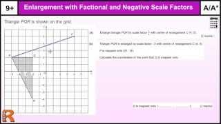 Enlargement Fractional and Negative Scale Factors GCSE Maths revision Exam paper practice & help