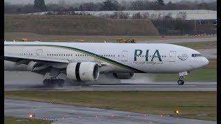 Boeing 777 PIA Landing on Wet Runway with Impressive Reverse Thrust