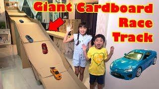 GiaCardboard Race Track - DIY Box Fort Car Racing Brianna Video