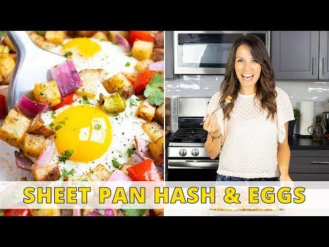 Sheet Pan Breakfast Hash & Eggs   Easy to Meal Prep!