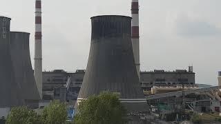 Elektrownia Łagisza-wyburzanie chłodni kominowe 30.08.2018r.