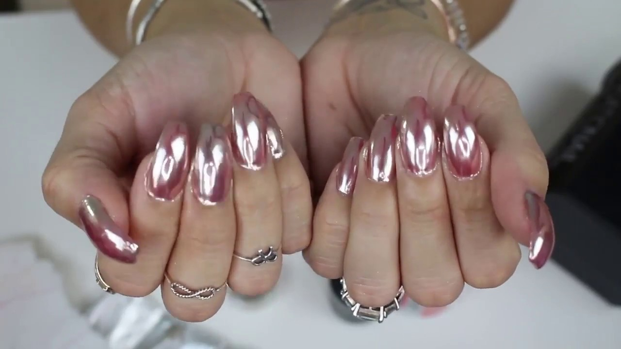 2018 Rose Gold Chrome Mirror Nails Youtube