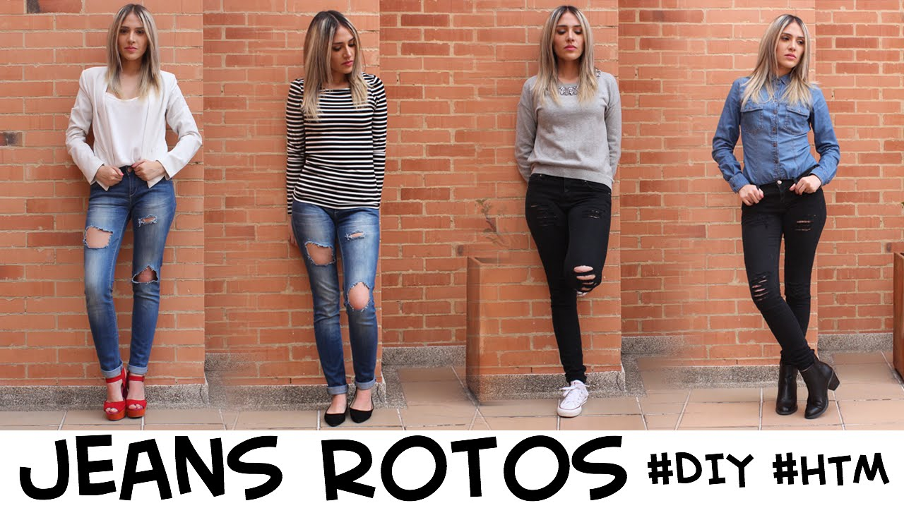 Jeans Rotos Diy Htm Outfits Youtube