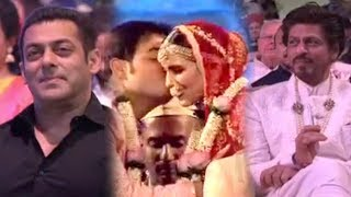 Salman Khan And Shah Rukh Khan Can't Stop Smiling As They See Akash Ambani Kissing Shloka Mehta
