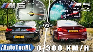 BMW M5 F90 vs BMW M6 F06 | 0-300km/h ACCELERATION SOUND & TOP SPEED AUTOBAHN POV by AutoTopNL