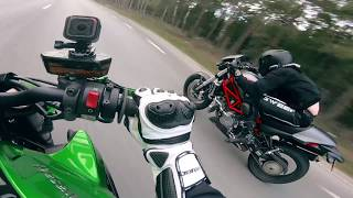 Drag Race - 2015 Kawasaki Z1000 VS 2007 Ducati Monster S4R Testastretta