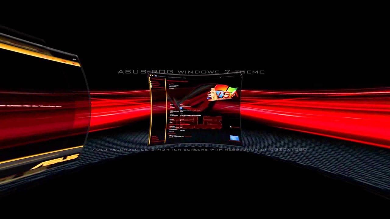 Windows 7 Theme ASUS ROG (HD) Multi Monitor CTX Version - YouTube