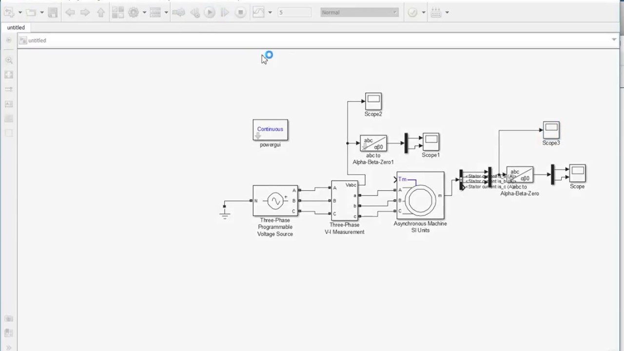 simulink abc to alfa beta transformation of stator VI measurements of an  indcution motor