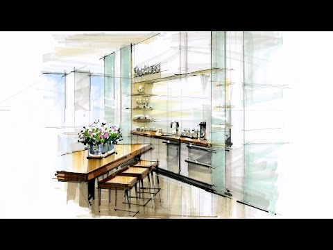 Tutorial - Hand Rendering, Interior, 170112 Reception Kitchen