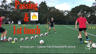 Loads of different soccer drills that work on 1st touch & passing