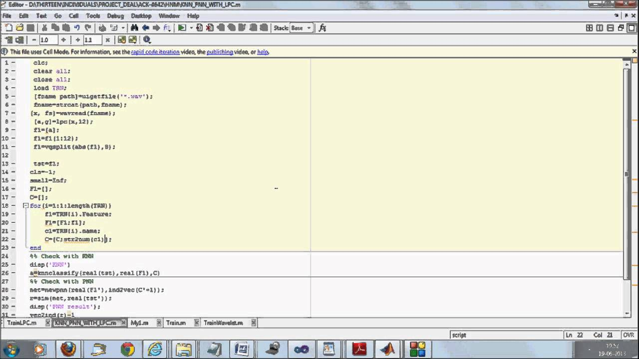 Simple Numeric Speech Recognition in Matlab using ANN and KNN