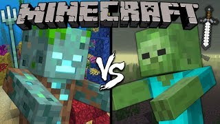 Drowned vs. Zombie - Minecraft