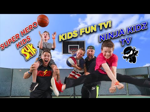TRICK SHOT H.O.R.S.E. Ft. Ninja Kidz TV, SuperHeroKids, Kids Fun TV!