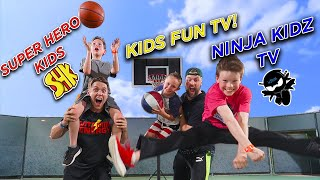 TRICK SHOT H.O.R.S.E. Ft. Ninja Kidz TV, SuperHeroKids, Kids Fun TV!