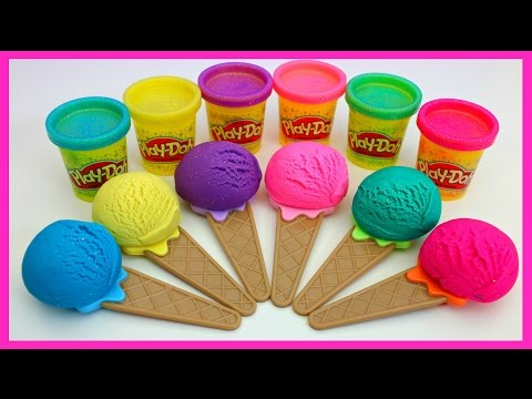 Learn Shapes with Play Doh Sparkle Compound Ice Cream Cones Fun and Creative for Kids