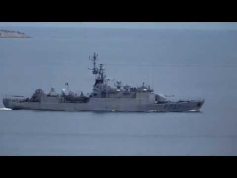 French Navy F797 Commandant Bouan under NATO SNMG2 patrolling in Aegean Sea.