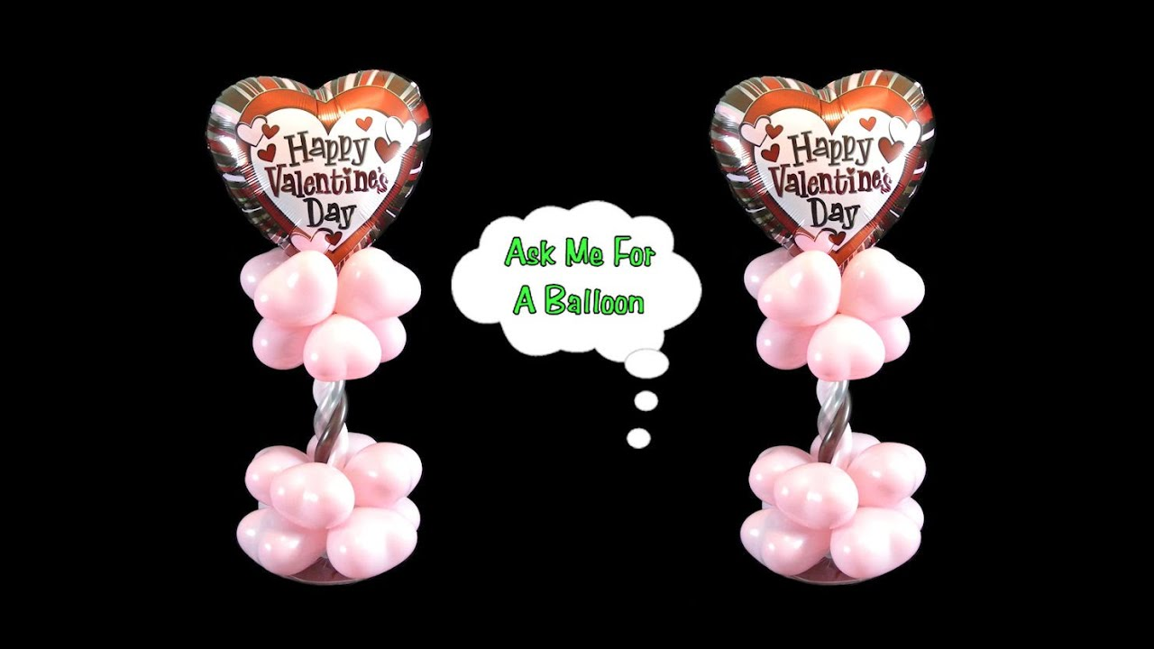Valentine 39 s day balloon centerpiece balloon decoration for Balloon decoration for valentines day