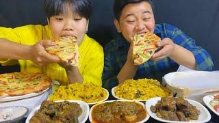 PIZZA, BEEF BIRYANI, CHICKEN BIRYANI, LOCAL CHICKEN MUKBANG | Mom's Kitchen by Melt Meitei Mukbang
